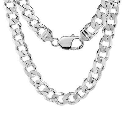 Sterling Silver 9mm Heavy Italian Cuban Curb Link Chain Necklace or Bracelet