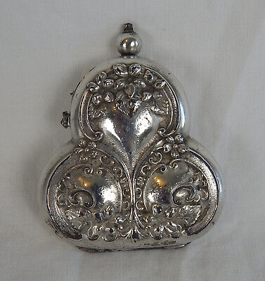 German Silver Chatelaine 3 Coin Holder Change Purse Clover Antique