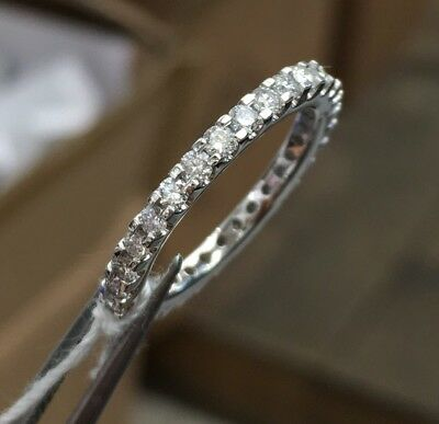 18k Solid White Gold Eternity Band Diamond Ring 0.95CT, Sz 5.5. Was $1239