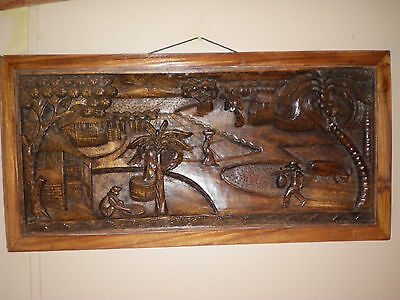 36 x 18 x 2  ANTIQUE LARGE SOLID WOOD PANEL 3-d  CARVING  OF ASIAN VILLAGE RARE