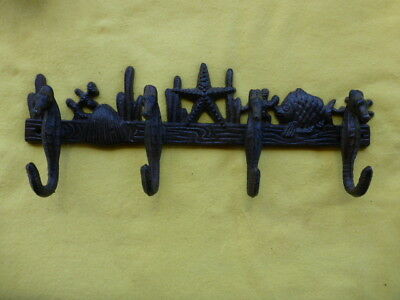 "Seahorse - Beach - Coat Hanger -  4 Hook - Cast Iron -  Heavy Vintage 11"" Long"