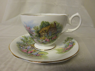 Queen Anne Fine Bone China England Teacup & Saucer Country Cottage Garden