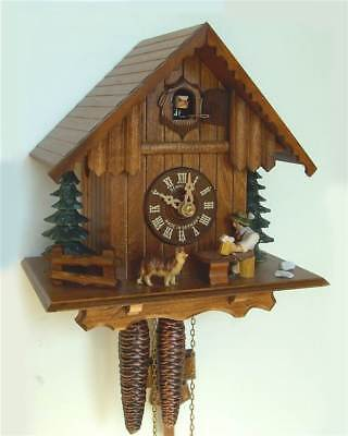 1-Day 8.6 in. Wooden Cuckoo Clock in Antique Finish [ID 93516]