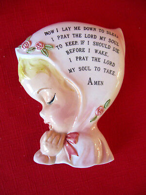 RARE Vintage Lefton China Wall Plaque Girl in Pink Prayer 1950's