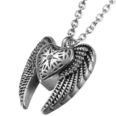 """22"""" Angel Heart & Wings Cremation Jewelry Ashes Keepsake Memorial Urn Necklace"""