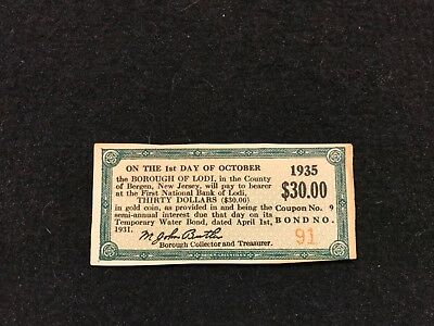 Vintage Bond $30 Coupon From Lodi NJ 1931 Payable in Gold Coins