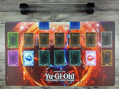 YuGiOh 1Player Custom Playmat Master Rule 4 Link Zones Red Space Mat Free Tube