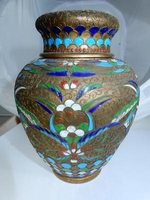 Antique Chinese Cloisonne Champleve tea caddy 16.5 cm tall enamel