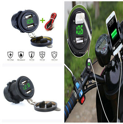 3.1A Green LED Motorcycle Dual USB Fast Charger W/Voltmeter for Safety Driving