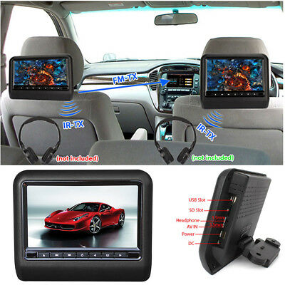 "9"" Black Car Headrest Monitors DVD Player/USB/HDMI/Games Remote Control"