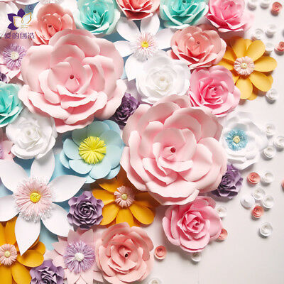 30 40cm Paper Flower Backdrop Wall Decor Rose Flowers Wedding Party Home Decor