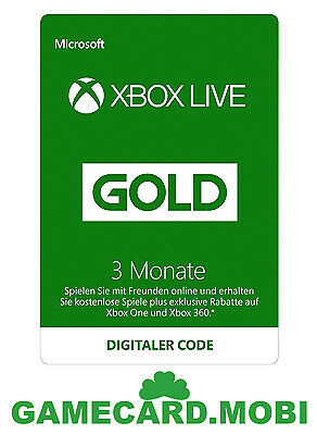 XBOX Live 3 Monate - XBOX 360 ONE Mitgliedschaft GOLD Membership 3 Month Card DE