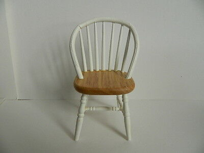 (H1.7)/12th scale DOLLS HOUSE WOODEN WHITE AND PINE KITCHEN CHAIR
