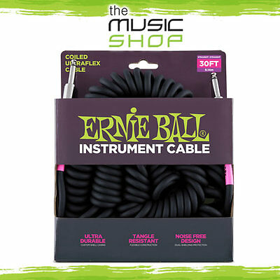 New Ernie Ball 30ft Coiled Instrument Cable - 6044 Black Curly Guitar Lead