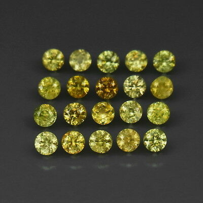 Round Diamond Cut 3 mm.Ordinary Rare! Demantoid Garnet Russia 20Pcs/2.54Ct.