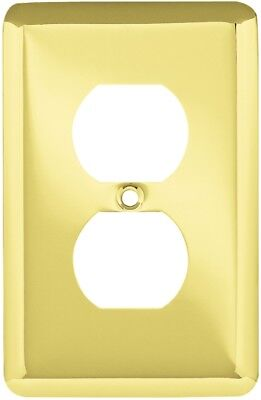 Style Selections Stamped Round 1-Gang Polished Brass Single Duplex Wall Plate