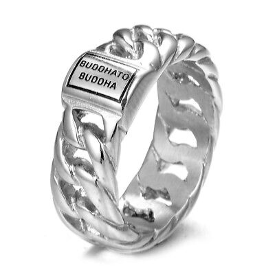 Men's Women's Buddha Fashion Ring 316L Stainless Steel Jewelry Woven Band Rings
