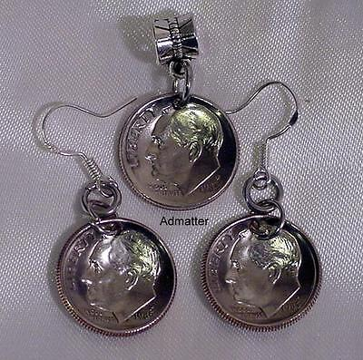 Usa Dime Dished Coin Earring & Pendant/charm Set Pick Birthday Anniversary Year