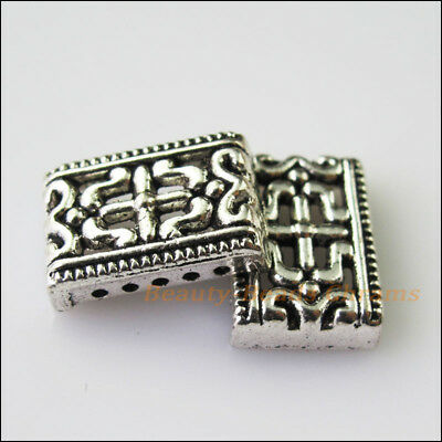 12 Antiqued Silver Tone 5-5Holes Spacer Beads Bars Charms Connector 6.5x11.5mm