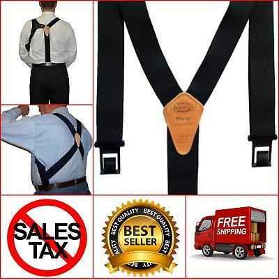 Dickies Men's Perry Suspenders Hook One Size Suspender Black Belt Plastic Clips