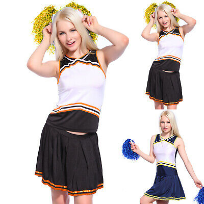 Cheerleader Fancy Dress Outfit School Musical Uniform Game Party Costume +Pompom