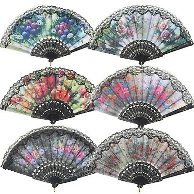 "Spanish Floral Folding Hand Fan Flowers Pattern Lace Handheld Fans Size 9"", Pack"