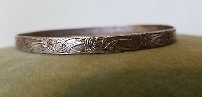 Vintage 925 Silver Victorian Art Deco Engraved  Bangle Bracelet 12g TAXCO Mexico