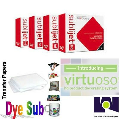 Sawgrass Virtuoso Ink Cartridges SG400/SG800 (CMYK) Set + 200 Sh Dye Sub Paper