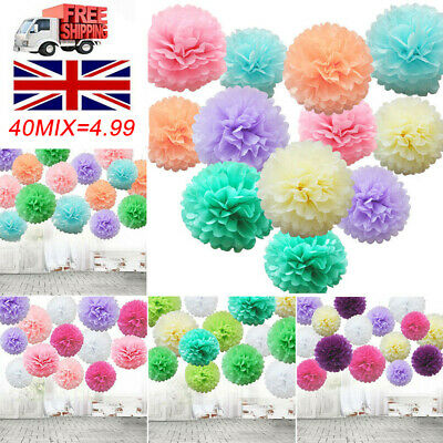 40 / 12 Mixed Tissue Paper Pompoms Pom Poms Hanging Garland Wedding Party Decor