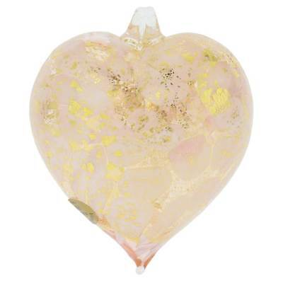 GlassOfVenice Murano Glass Spotted Heart Christmas Ornament - Pink Gold