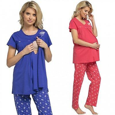 Happy Mama. Women's Maternity Top Nursing Breastfeeding Pyjamas Nightwear. 520p