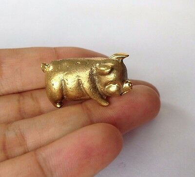 Pig Brass Miniature Charm Figurine Vintage Lucky Collectible Statue Animal Home.