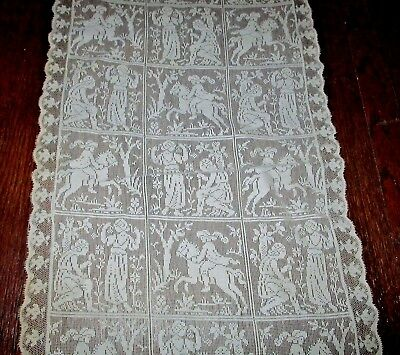 """Antique Filet Net Lace Runner Courting Scenes Knight Horse Rider Doily 30"""" x 13"""""""