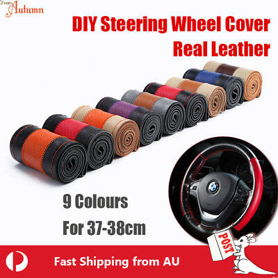 9 Types! Real Color Leather DIY Car Steering Wheel Cover Auto SUV Universal 38cm