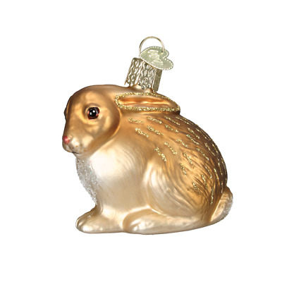 """Cottontail Bunny"" (Brown)(12192)X Old World Christmas Glass Ornament w/ OWC Box"