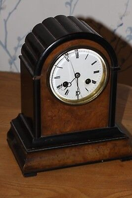 Antique French Wooden Cased Mantle Clock. Bell strike. Good Working Order.
