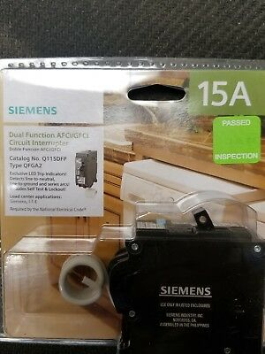 Siemens 15-Amp AFCI/GFCI Dual Function-Circuit Breaker LED Trip Indicators