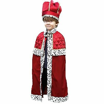 Kids Boys Royal King Prince Wedding Deluxe Cape & Crown Fancy Dress Costume UK