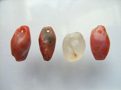 4 Ancient Neolithic Amulets, Red Jasper,Rock Crystal, Stone Age, VERY RARE! TOP!