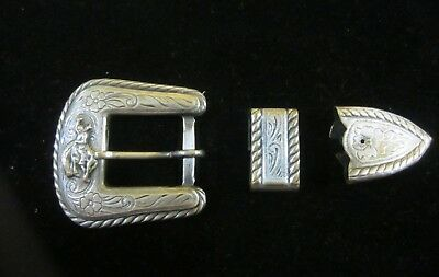 Authentic Vintage Silver 3 Piece Western Ranger Belt Buckle  Bucking Bronco