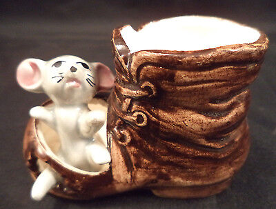 Vintage MOUSE IN BROWN BOOT Ceramic Figurine Japanese 1960s 'Foot In Foot Out'