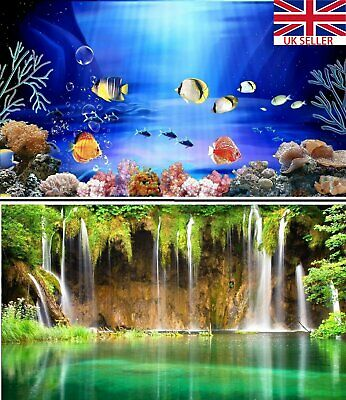 3~9FT Double Sided Aquarium Fish Tank Reptile Marine Poster Background Backdrop
