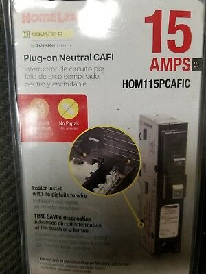 New Square D Homeline Hom115Pcafic 15A Plug In Arc-Fault Breaker.