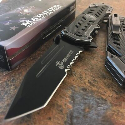 MTECH USMC MARINES Spring Assisted Open Tactical Rescue Folding POCKET KNIFE BLK