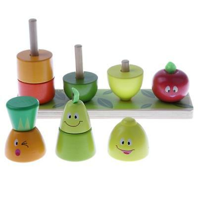 Kids/Baby Developmental Wooden Fruits Stacking Game Early Learning Toy Gifts