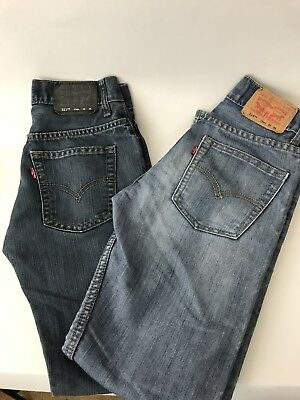 Levi's Slim Jeans Boys 12 Regular 511 514 Medium Dark Wash 2 Pairs