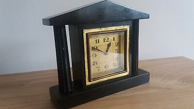 Antique 30 Hour Small Peak Topped,two Pillar, Hard Wood Cased Mantle Clock.