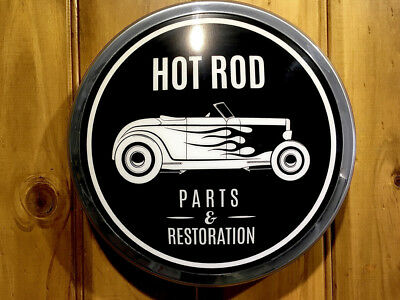 """Hot Rod Parts Light Up 12"""" old chrome LED retro Sign Including Mounting Template"""