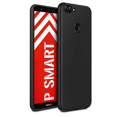 Cover Per Huawei P Smart Custodia Morbida Tpu Opaca Anti-Impronta Nera Slim Soft