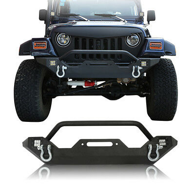 OPAR Textured Black Front Bumper w/ LED Lights for 1997-2006 Jeep Wrangler TJ